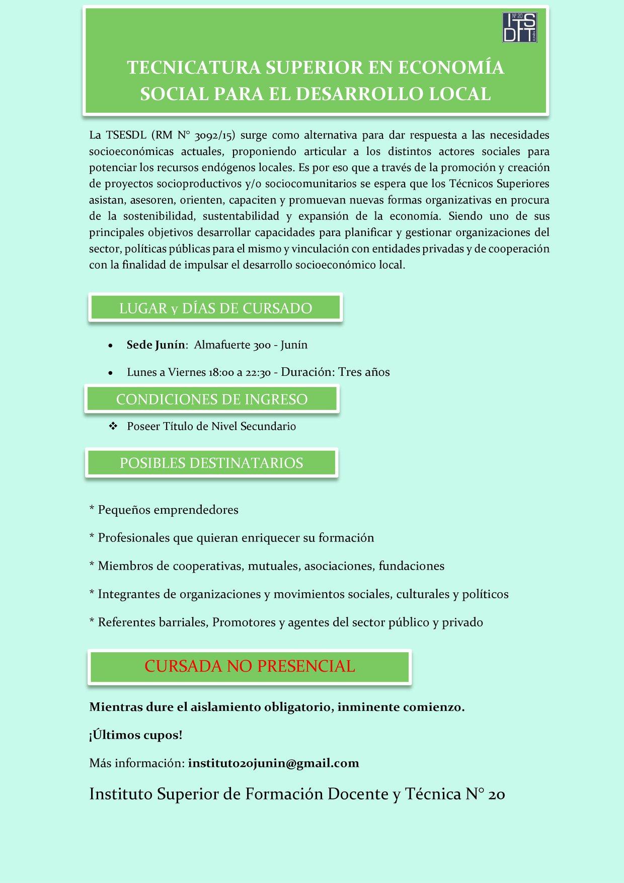 Tecnicatura de Economía Social para el Desarrollo Local